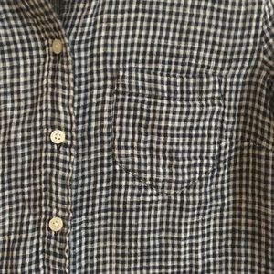 Jcrew Boy-Fit Navy Gingham Button Up